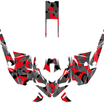 Yamaha Sidewinder Snowmobile Wrap graphics kit Poly camo Red Overview