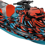 Sea-doo Wake Pro 230 wrap graphics kit Phoenix Teal blue Lava red